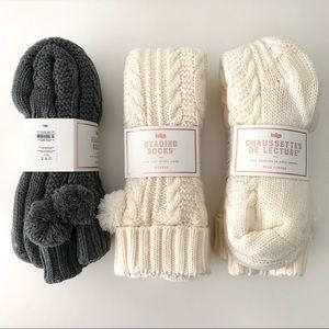 NWT 3x Cable Knit Sherpa Lounge Socks, Tall